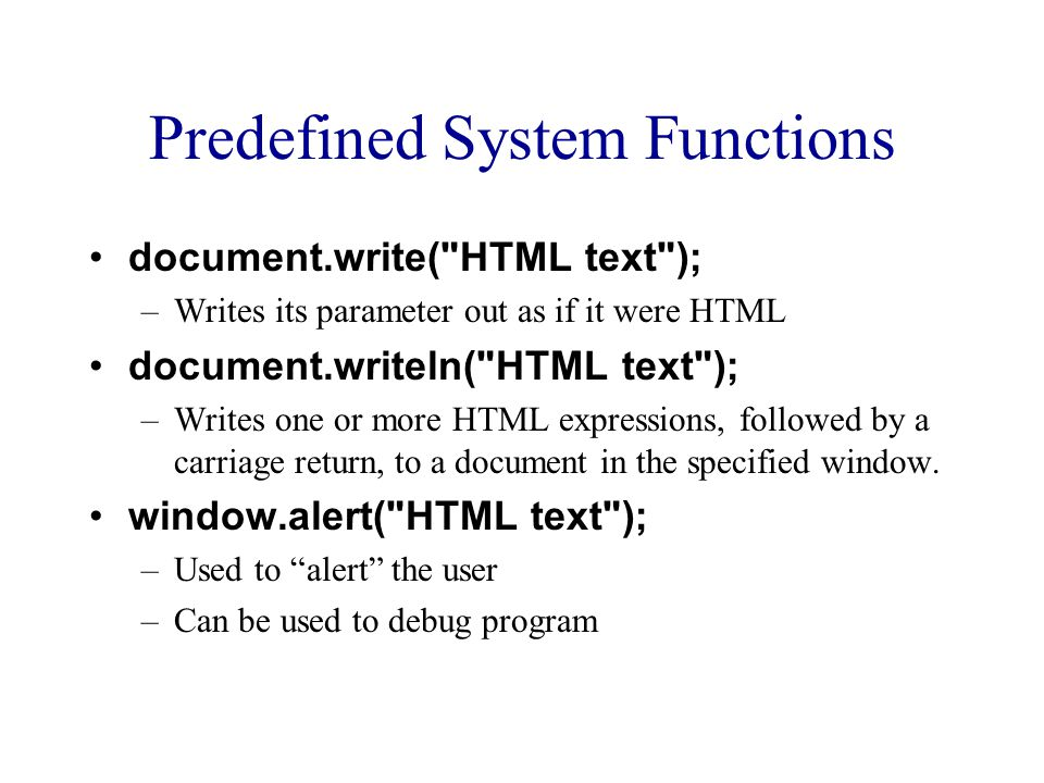 Predefined System Functions document.write(