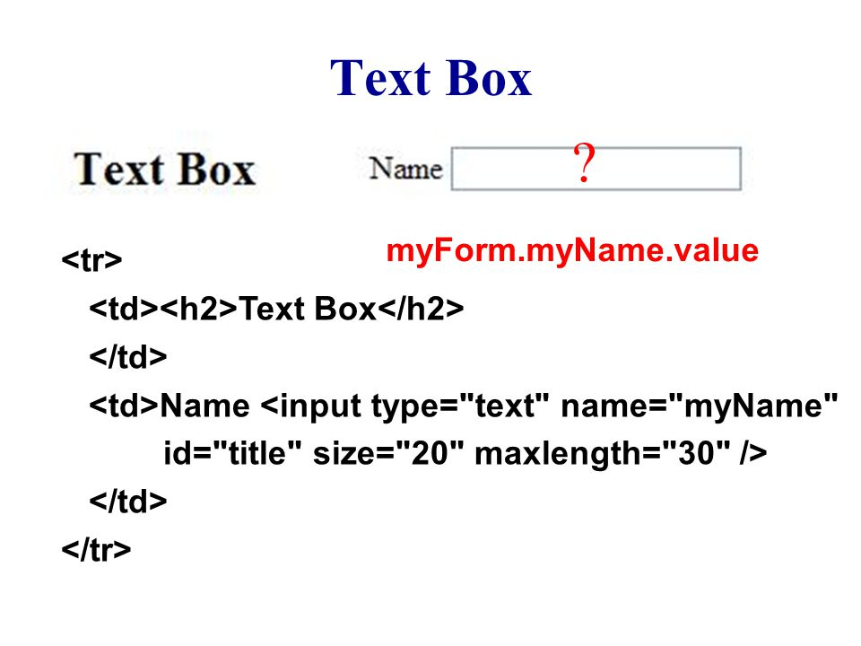 Text Box Text Box Name <input type=