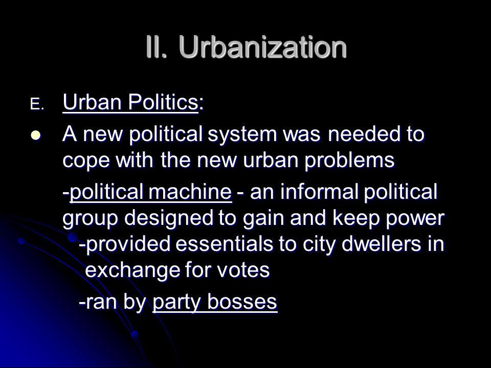 II. Urbanization E.