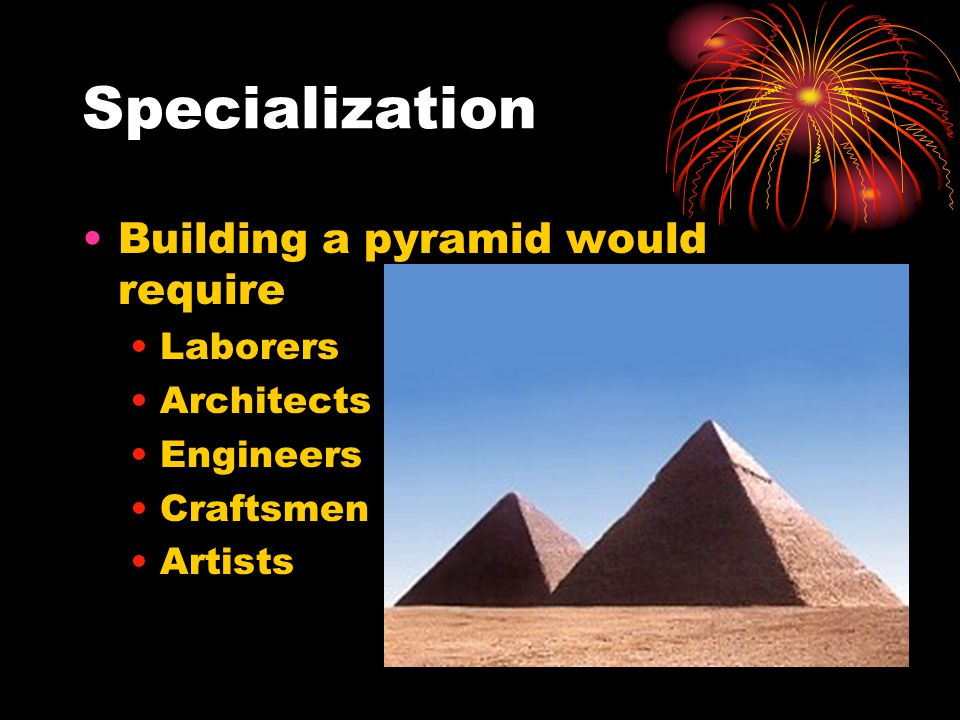 Specialization Building a pyramid would require Laborers Architects Engineers Craftsmen Artists