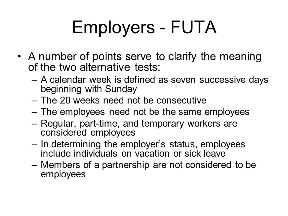 Employers - FUTA Other covered employers: 1.