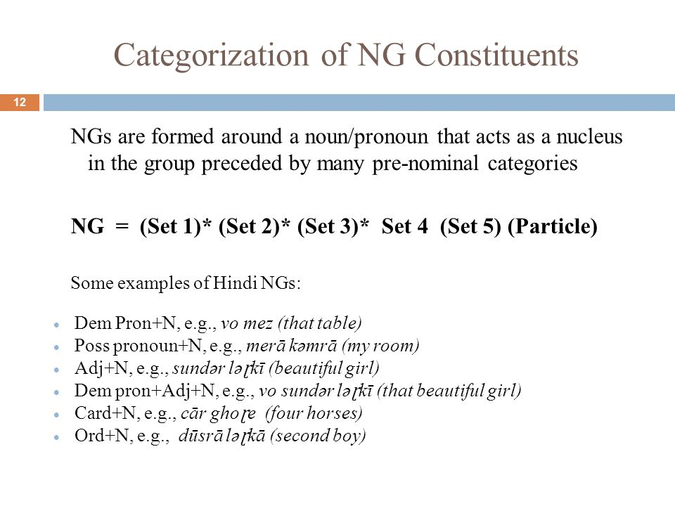 Categorization of NG Constituents 12 NGs are formed around a noun/pronoun that acts as a nucleus in the group preceded by many pre-nominal categories NG = (Set 1)* (Set 2)* (Set 3)* Set 4 (Set 5) (Particle) Some examples of Hindi NGs:  Dem Pron+N, e.g., vo mez (that table)  Poss pronoun+N, e.g., merā kəmrā (my room)  Adj+N, e.g., sundər lə ɽ kī (beautiful girl)  Dem pron+Adj+N, e.g., vo sundər lə ɽ kī (that beautiful girl)  Card+N, e.g., cār gho ɽ e (four horses)  Ord+N, e.g., dūsrā lə ɽ kā (second boy)