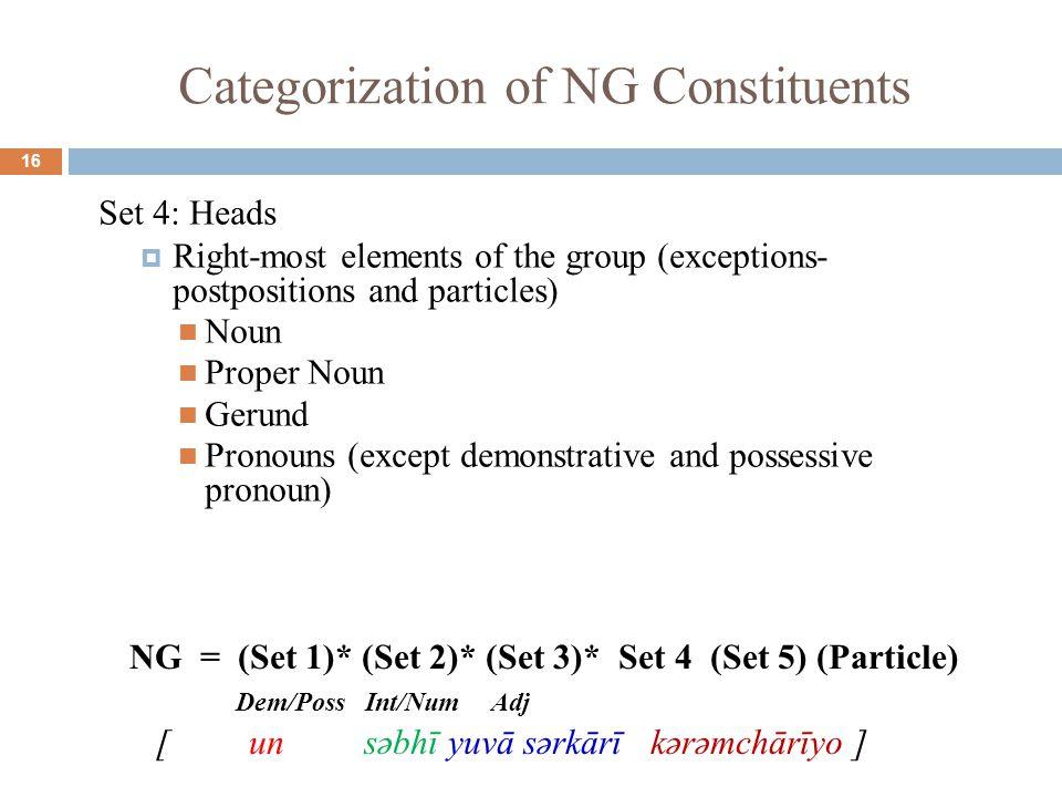 Categorization of NG Constituents 16 Set 4: Heads  Right-most elements of the group (exceptions- postpositions and particles) Noun Proper Noun Gerund Pronouns (except demonstrative and possessive pronoun) NG = (Set 1)* (Set 2)* (Set 3)* Set 4 (Set 5) (Particle) Dem/Poss Int/Num Adj [ un səbhī yuvā sərkārī kərəmchārīyo ]