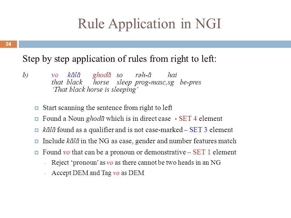 Rule Application in NGI 24 Step by step application of rules from right to left: b)vo kālā ghodā so rəh-ā hai that black horse sleep prog-masc,sg be-pres 'That black horse is sleeping'  Start scanning the sentence from right to left  Found a Noun ghodā which is in direct case - SET 4 element  kālā found as a qualifier and is not case-marked – SET 3 element  Include kālā in the NG as case, gender and number features match  Found vo that can be a pronoun or demonstrative – SET 1 element - Reject 'pronoun' as vo as there cannot be two heads in an NG - Accept DEM and Tag vo as DEM