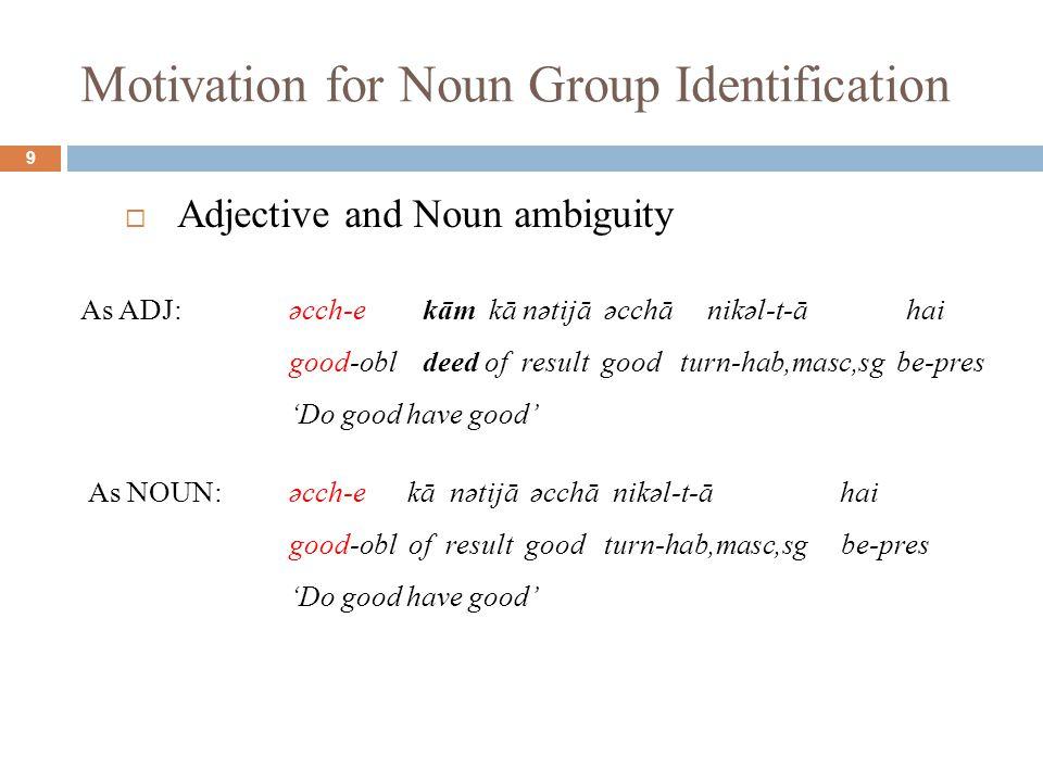 Motivation for Noun Group Identification 9  Adjective and Noun ambiguity As ADJ:əcch-e kām kā nətijā əcchā nikəl-t-ā hai good-obl deed of result good turn-hab,masc,sg be-pres 'Do good have good' As NOUN:əcch-e kā nətijā əcchā nikəl-t-ā hai good-obl of result good turn-hab,masc,sg be-pres 'Do good have good'