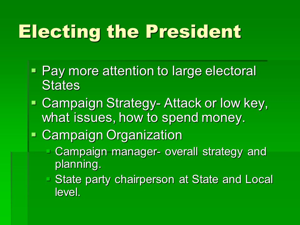 Electing the President  Pay more attention to large electoral States  Campaign Strategy- Attack or low key, what issues, how to spend money.