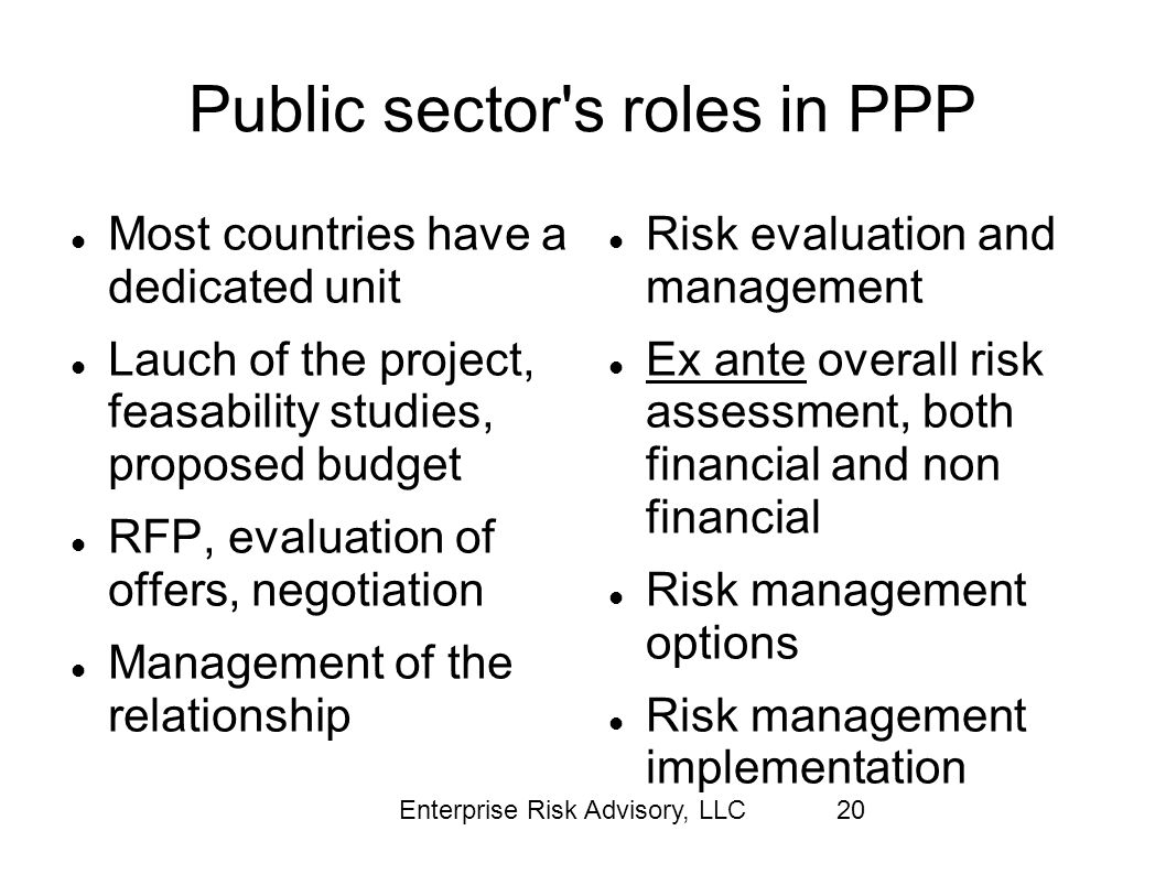Enterprise Risk Advisory, LLC20 Public sector's roles in PPP Most countries have a dedicated unit Lauch of the project, feasability studies, proposed