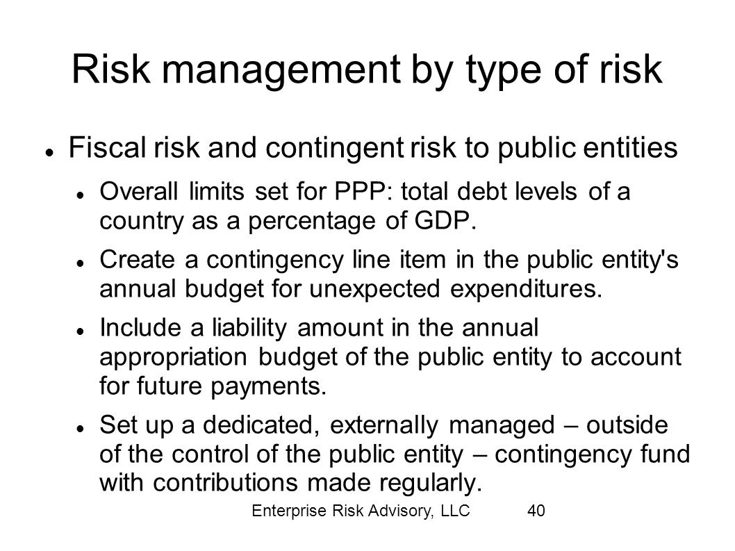 Enterprise Risk Advisory, LLC40 Risk management by type of risk Fiscal risk and contingent risk to public entities Overall limits set for PPP: total d