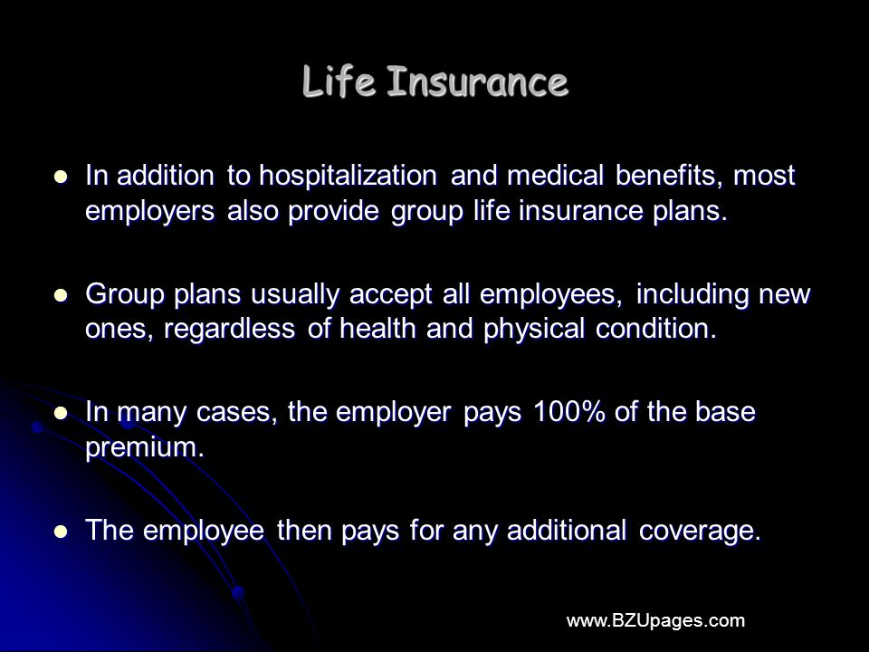 www.BZUpages.com Life Insurance In addition to hospitalization and medical benefits, most employers also provide group life insurance plans.