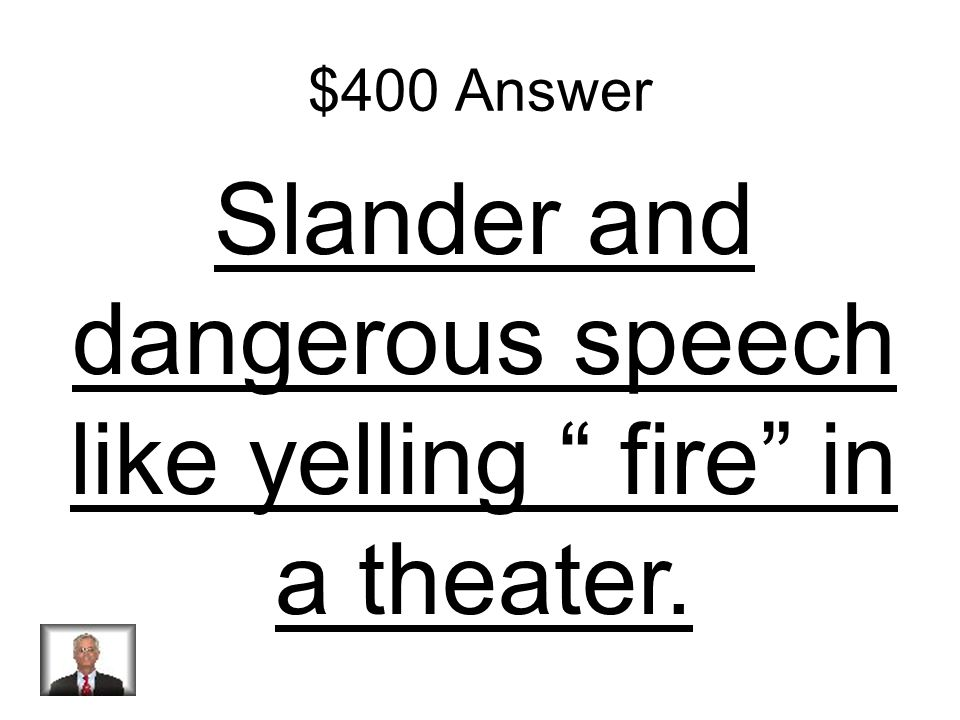 $400 Question What type of speech does the 1 st amendment not protect