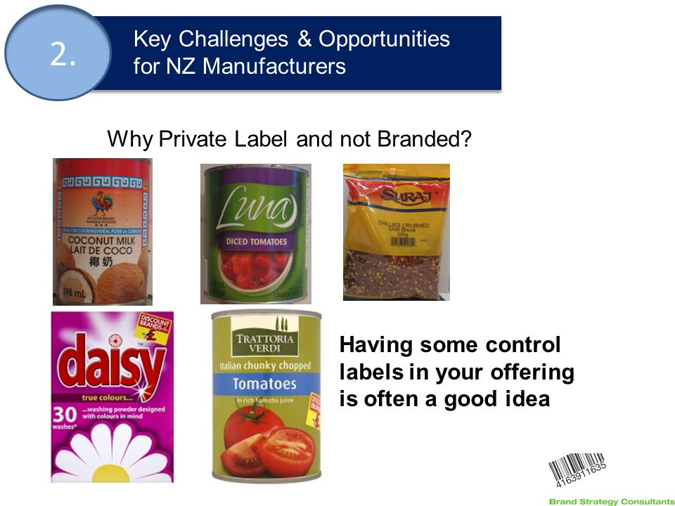 2. Key Challenges & Opportunities for NZ Manufacturers Why Private Label and not Branded.