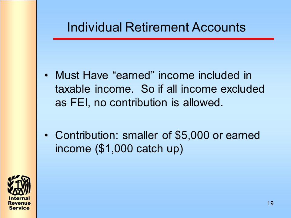 19 Individual Retirement Accounts Must Have earned income included in taxable income.