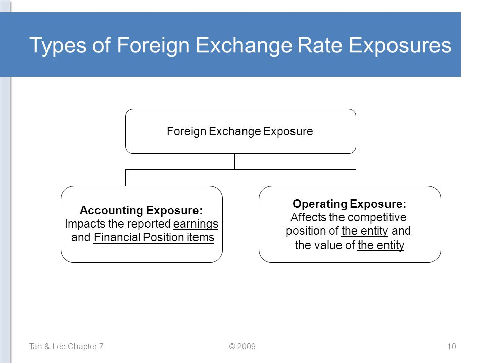 Types of Foreign Exchange Rate Exposures Tan & Lee Chapter 7© 200910 Foreign Exchange Exposure Accounting Exposure: Impacts the reported earnings and