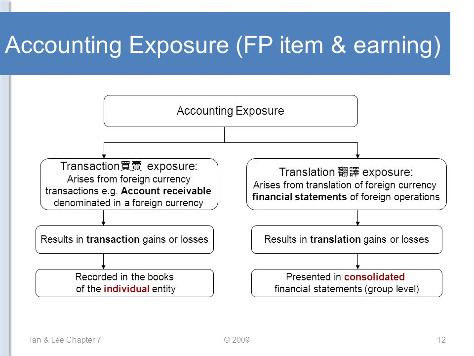 Accounting Exposure (FP item & earning) Tan & Lee Chapter 7© 200912 Accounting Exposure Transaction 買賣 exposure: Arises from foreign currency transact