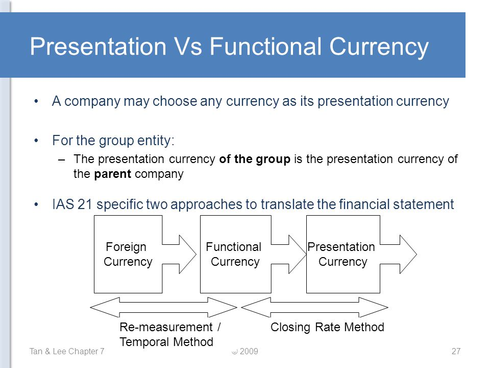 Presentation Vs Functional Currency A company may choose any currency as its presentation currency For the group entity: –The presentation currency of