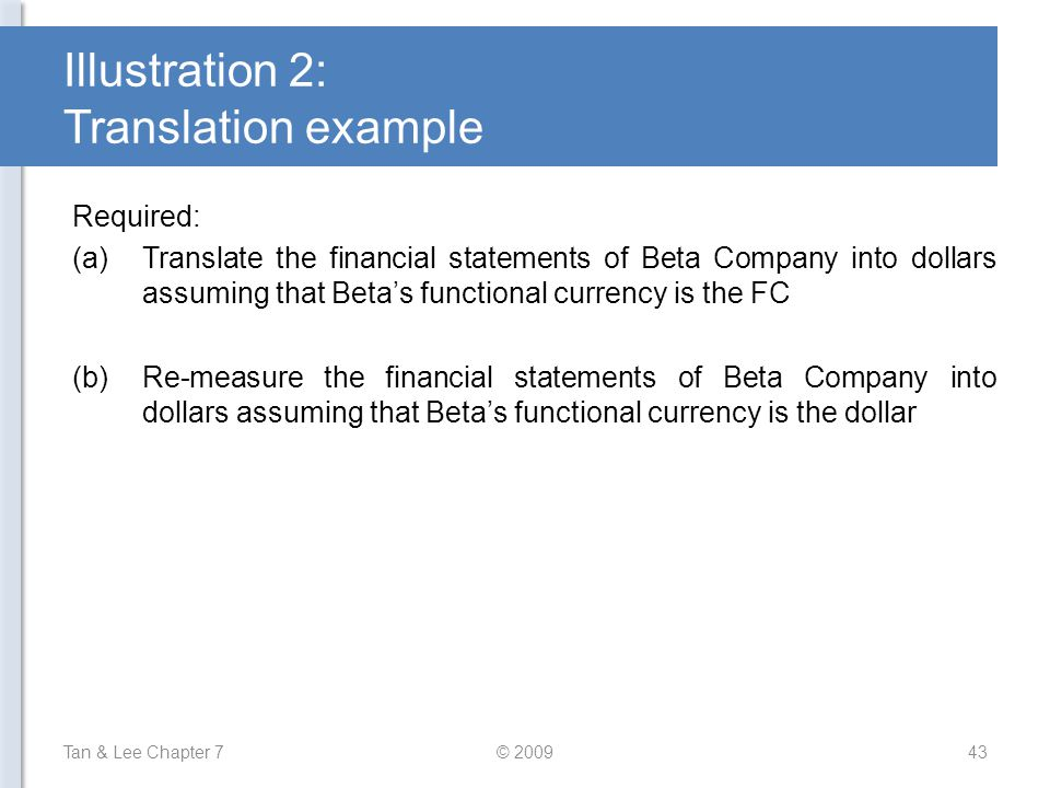 Illustration 2: Translation example Required: (a)Translate the financial statements of Beta Company into dollars assuming that Beta's functional curre