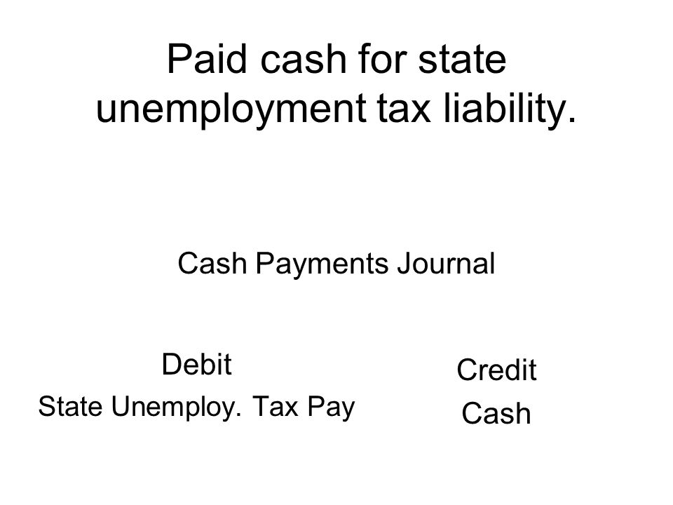 Paid cash for state unemployment tax liability. Debit State Unemploy.
