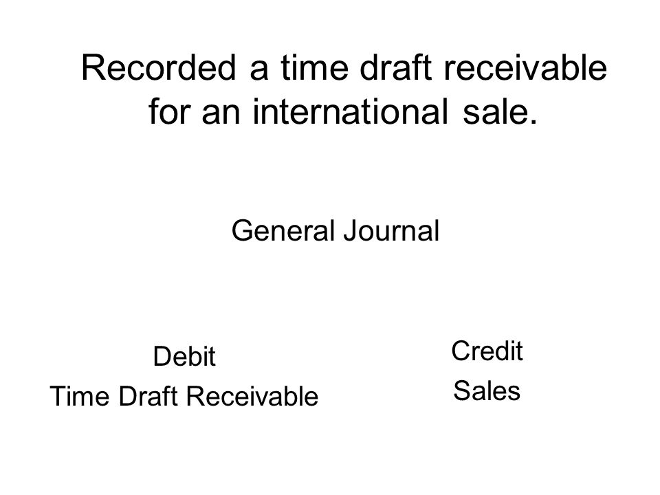 Recorded a time draft receivable for an international sale.