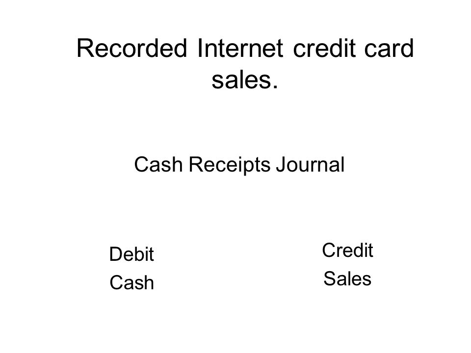 Recorded Internet credit card sales. Debit Cash Credit Sales Cash Receipts Journal
