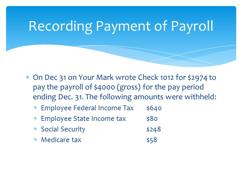  On Dec 31 on Your Mark wrote Check 1012 for $2974 to pay the payroll of $4000 (gross) for the pay period ending Dec. 31. The following amounts were