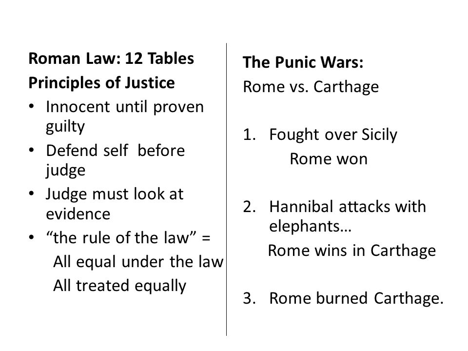 "Roman Law: 12 Tables Principles of Justice Innocent until proven guilty Defend self before judge Judge must look at evidence ""the rule of the law"" = A"