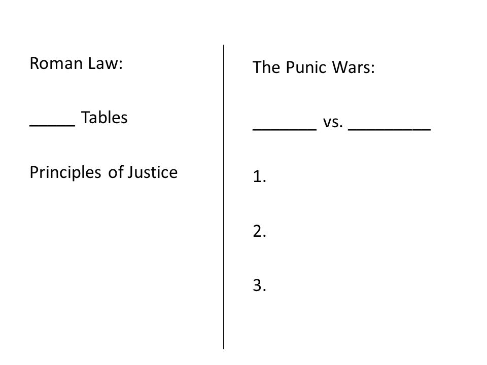 Roman Law: _____ Tables Principles of Justice The Punic Wars: _______ vs. _________ 1. 2. 3.