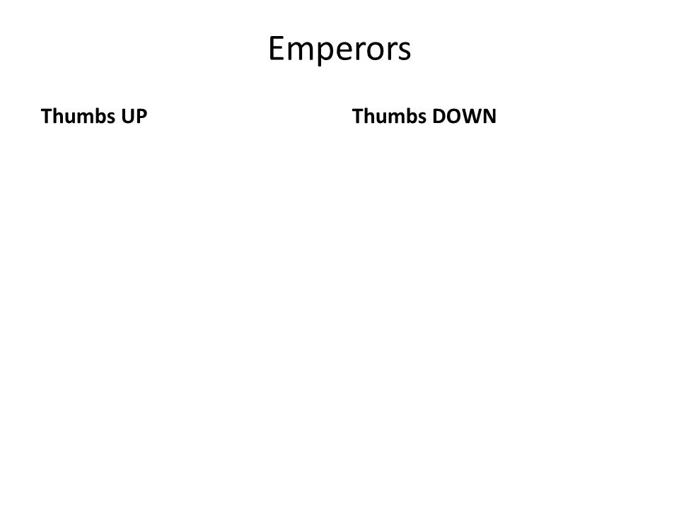 Emperors Thumbs UPThumbs DOWN