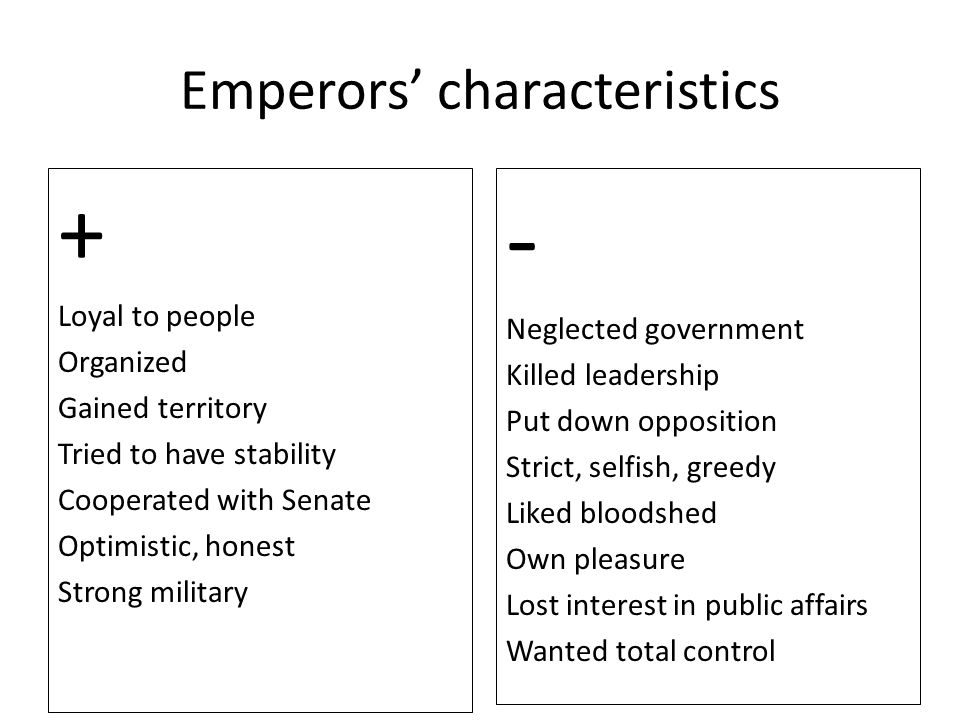Emperors' characteristics + Loyal to people Organized Gained territory Tried to have stability Cooperated with Senate Optimistic, honest Strong milita