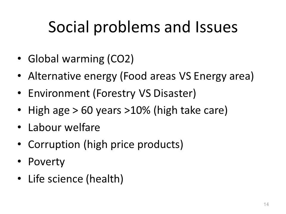 Social problems and Issues Global warming (CO2) Alternative energy (Food areas VS Energy area) Environment (Forestry VS Disaster) High age > 60 years >10% (high take care) Labour welfare Corruption (high price products) Poverty Life science (health) 14