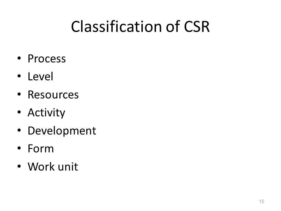 Classification of CSR Process Level Resources Activity Development Form Work unit 15