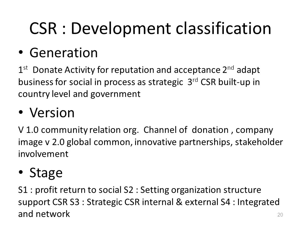 CSR : Development classification Generation 1 st Donate Activity for reputation and acceptance 2 nd adapt business for social in process as strategic 3 rd CSR built-up in country level and government Version V 1.0 community relation org.