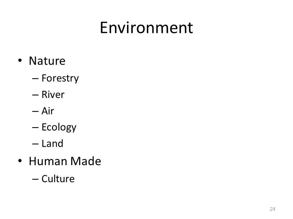 Environment Nature – Forestry – River – Air – Ecology – Land Human Made – Culture 24