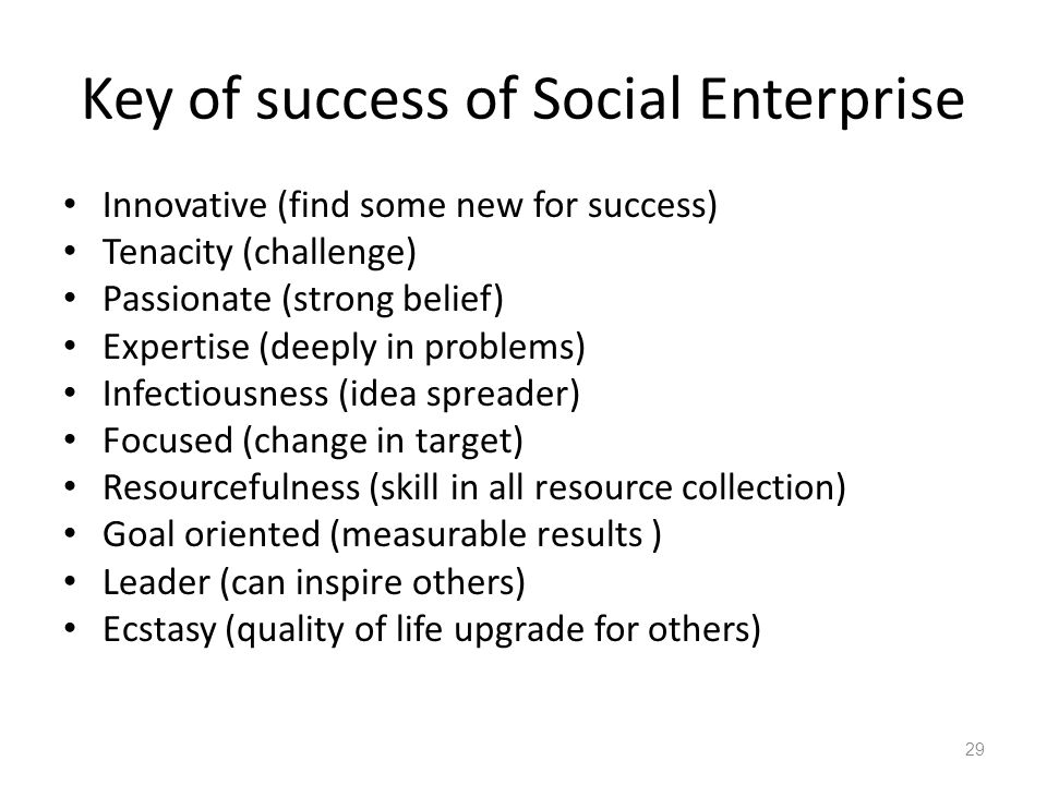 Key of success of Social Enterprise Innovative (find some new for success) Tenacity (challenge) Passionate (strong belief) Expertise (deeply in problems) Infectiousness (idea spreader) Focused (change in target) Resourcefulness (skill in all resource collection) Goal oriented (measurable results ) Leader (can inspire others) Ecstasy (quality of life upgrade for others) 29