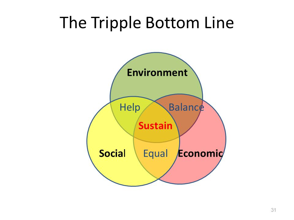 The Tripple Bottom Line 31 Environment SocialEconomic Balance Equal Help Sustain