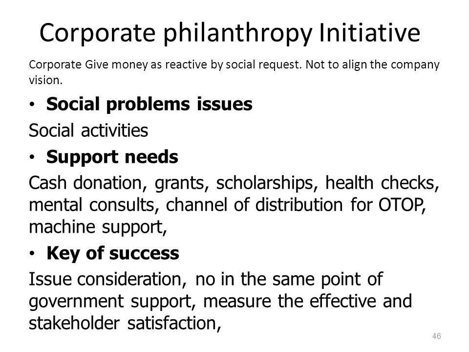 Corporate philanthropy Initiative Corporate Give money as reactive by social request.
