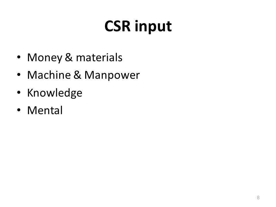 CSR input Money & materials Machine & Manpower Knowledge Mental 8