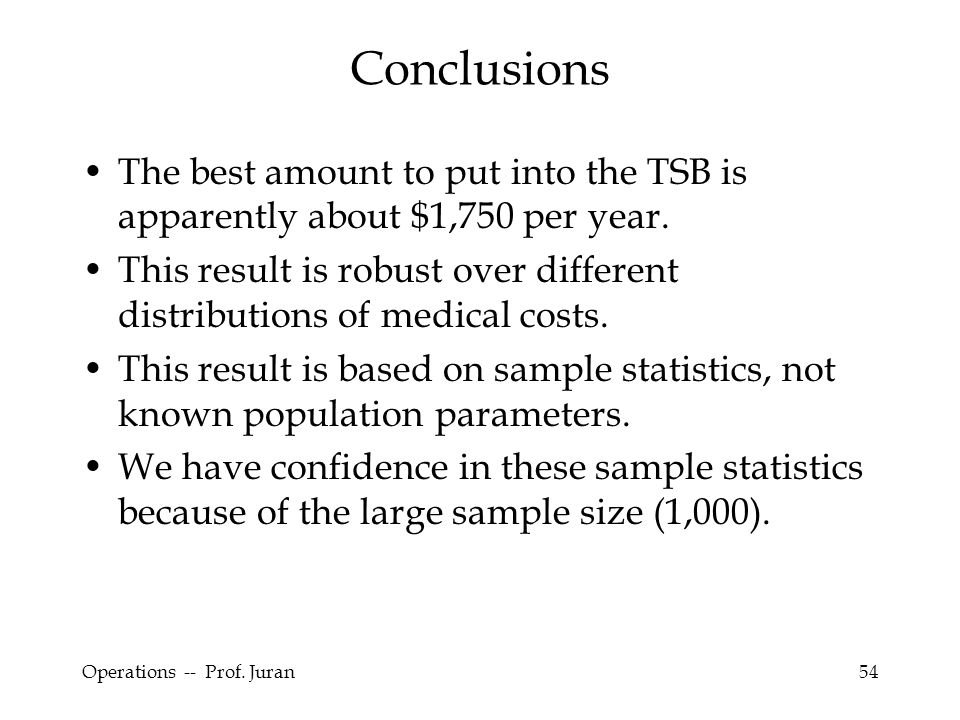 Operations -- Prof. Juran54 Conclusions The best amount to put into the TSB is apparently about $1,750 per year. This result is robust over different