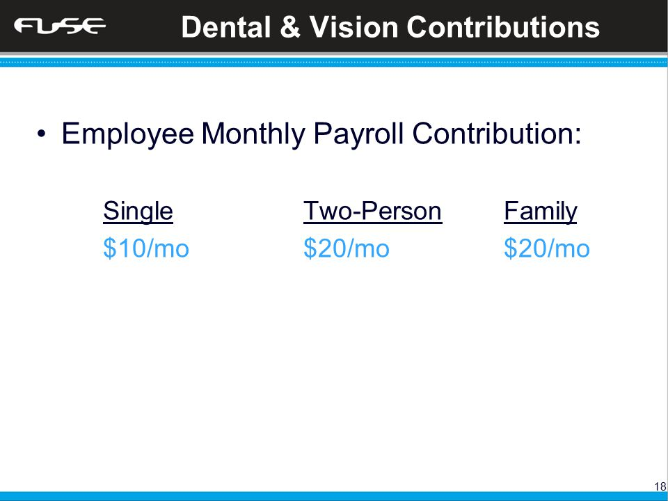 18 Dental & Vision Contributions Employee Monthly Payroll Contribution: SingleTwo-PersonFamily $10/mo $20/mo$20/mo