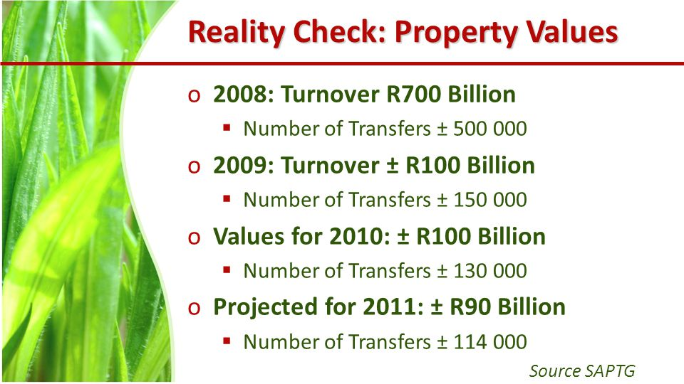 Reality Check: Property Values o2008: Turnover R700 Billion  Number of Transfers ± 500 000 o2009: Turnover ± R100 Billion  Number of Transfers ± 150 000 oValues for 2010: ± R100 Billion  Number of Transfers ± 130 000 oProjected for 2011: ± R90 Billion  Number of Transfers ± 114 000 Source SAPTG
