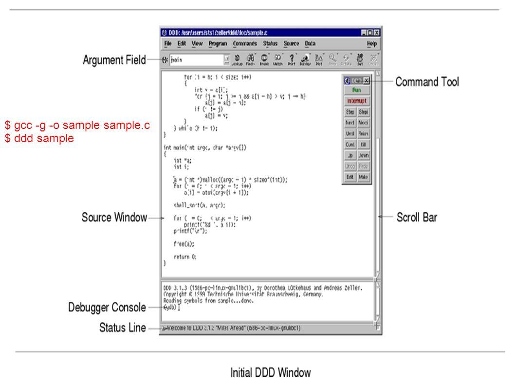 $ gcc -g -o sample sample.c $ ddd sample
