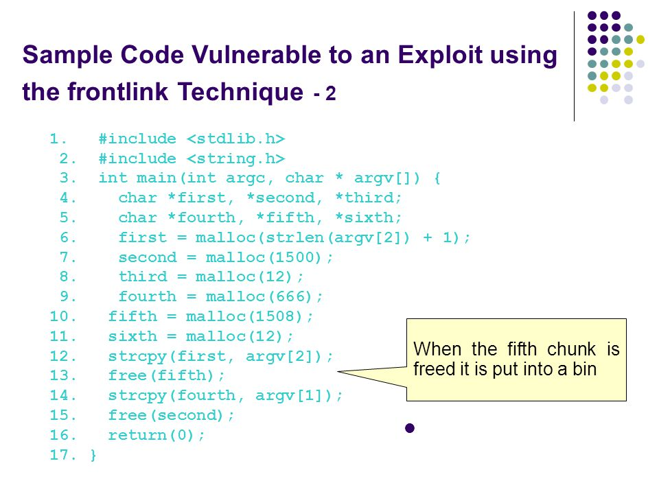 Sample Code Vulnerable to an Exploit using the frontlink Technique - 2 1.