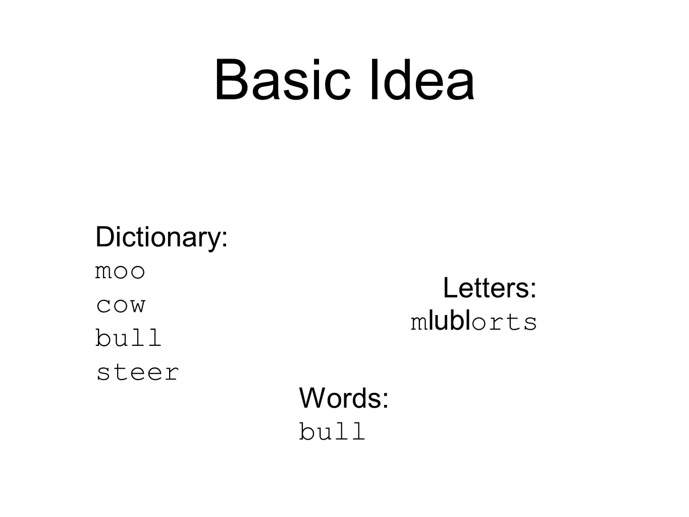 Basic Idea Dictionary: moo cow bull steer Letters: m lubl orts Words: bull