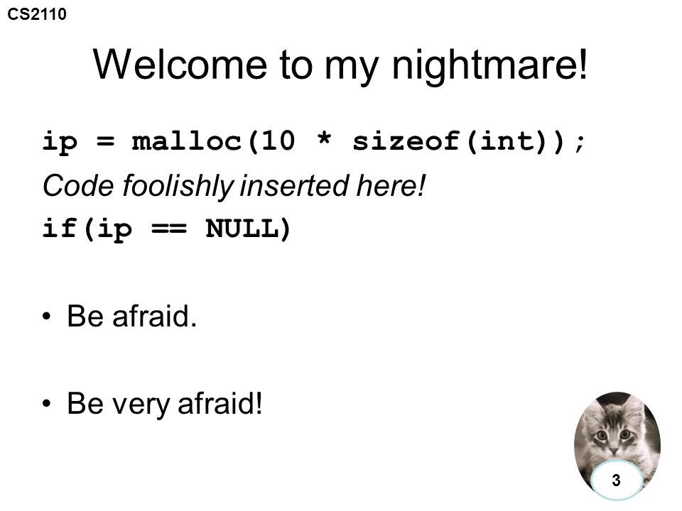 CS2110 Welcome to my nightmare. ip = malloc(10 * sizeof(int)); Code foolishly inserted here.