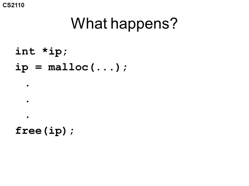 CS2110 What happens? int *ip; ip = malloc(...);. free(ip);