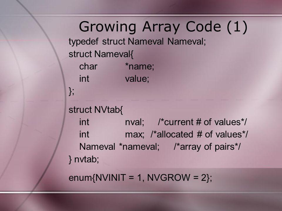 Growing Array Code (2) int addname(Nameval newname) { Nameval *nvp; if (nvtab.nameval == NULL) nvtab.nameval = (Nameval *) malloc(NVIT*sizeof(Nameval)); if (nvtab.nameval == NULL) return -1; nvtab.max = NVINIT; nvtab.nval = 0; }