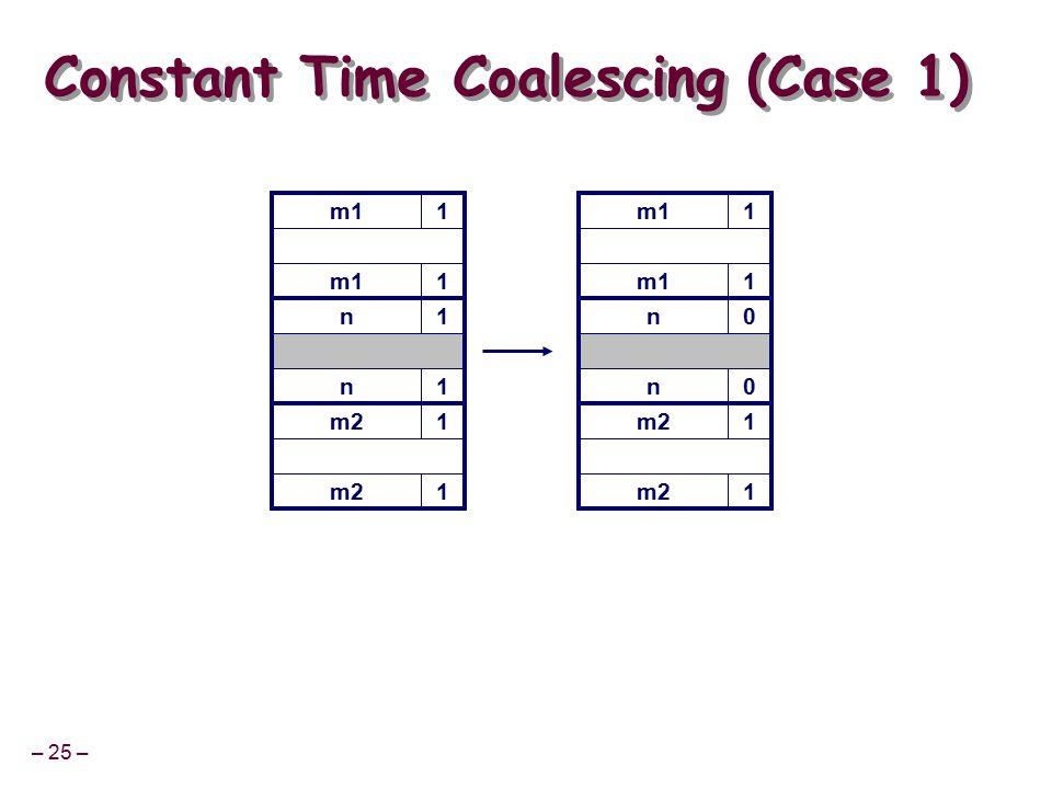 – 25 – m11 Constant Time Coalescing (Case 1) m11 n1 n1 m21 1 m11 1 n0 n0 m21 1