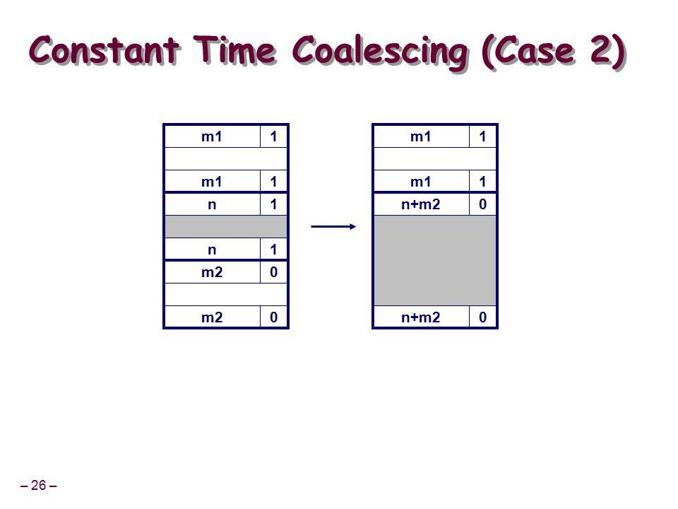 – 26 – m11 Constant Time Coalescing (Case 2) m11 n+m20 0 m11 1 n1 n1 m20 0