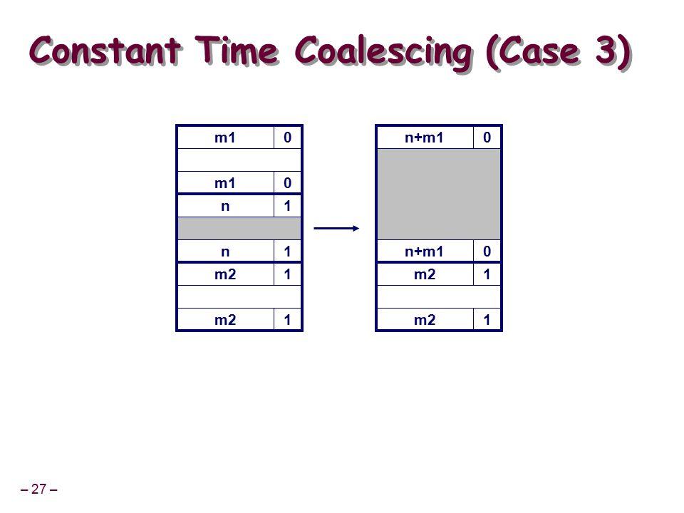 – 27 – m10 Constant Time Coalescing (Case 3) m10 n1 n1 m21 1 n+m10 0 m21 1