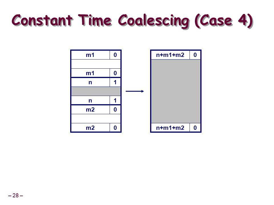 – 28 – m10 Constant Time Coalescing (Case 4) m10 n1 n1 m20 0 n+m1+m20 0