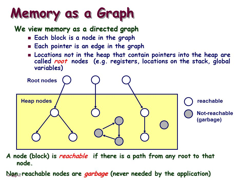 – 46 – Memory as a Graph We view memory as a directed graph Each block is a node in the graph Each pointer is an edge in the graph Locations not in the heap that contain pointers into the heap are called root nodes (e.g.